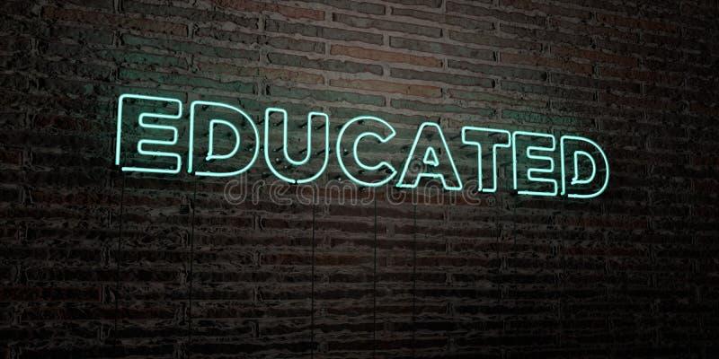 - Enseigne au néon réaliste sur le fond de mur de briques - 3D INSTRUIT a rendu l'image courante gratuite de redevance illustration stock