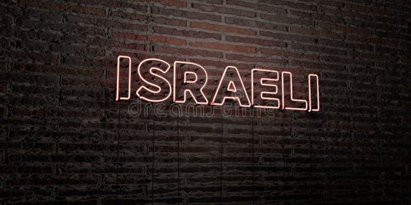 - Enseigne au néon réaliste sur le fond de mur de briques - 3D ISRAÉLIEN a rendu l'image courante gratuite de redevance illustration libre de droits