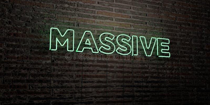 - Enseigne au néon réaliste sur le fond de mur de briques - 3D MASSIF a rendu l'image courante gratuite de redevance illustration libre de droits