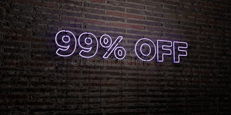 99% - enseigne au néon réaliste sur le fond de mur de briques - 3D a rendu l'image courante gratuite de redevance images libres de droits