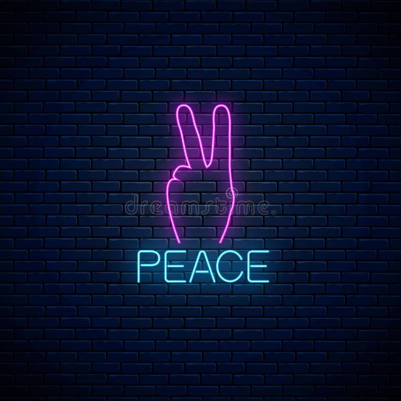 Enseigne au néon rougeoyant de geste de paix Illustration de vecteur de symbole hippie dans le style au néon illustration stock