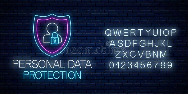 Enseigne au néon rougeoyant de protection des données personnelle avec l'alphabet Symbole de sécurité de cyber d'Internet avec le illustration libre de droits