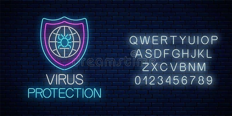 Enseigne au néon rougeoyant de protection de virus avec l'alphabet Symbole de s?curit? de cyber d'Internet avec l'insecte de bouc illustration libre de droits