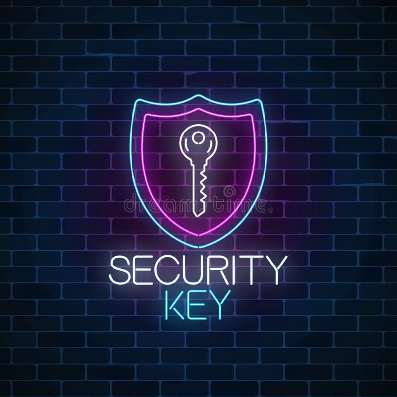 Enseigne au néon rougeoyant principal de sécurité sur le fond foncé de mur de briques Symbole de protection d'Internet avec la cl illustration de vecteur