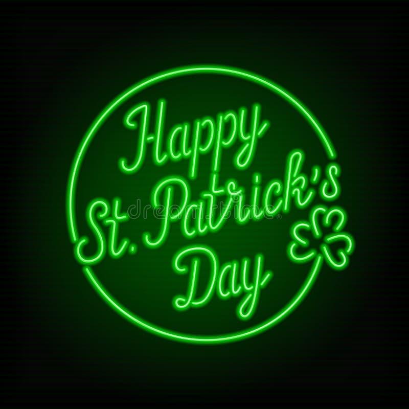 Enseigne au néon rougeoyant - texte heureux de jour du ` s de St Patrick illustration stock
