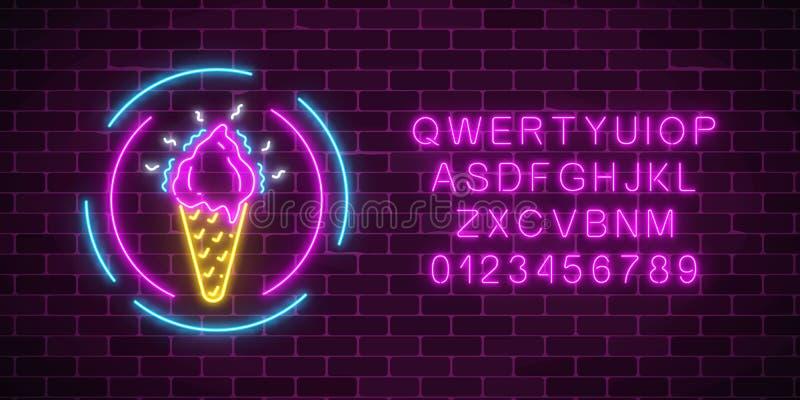 Enseigne au néon rougeoyante de cornet de crème glacée dans des cadres et l'alphabet de cercle Glace de fruit dans le cône de gau illustration de vecteur