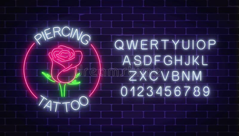 Enseigne au néon rougeoyante de tatouage et de salon piercing avec l'emblème rose et l'alphabet Symbole de fleur dans le cadre de illustration de vecteur