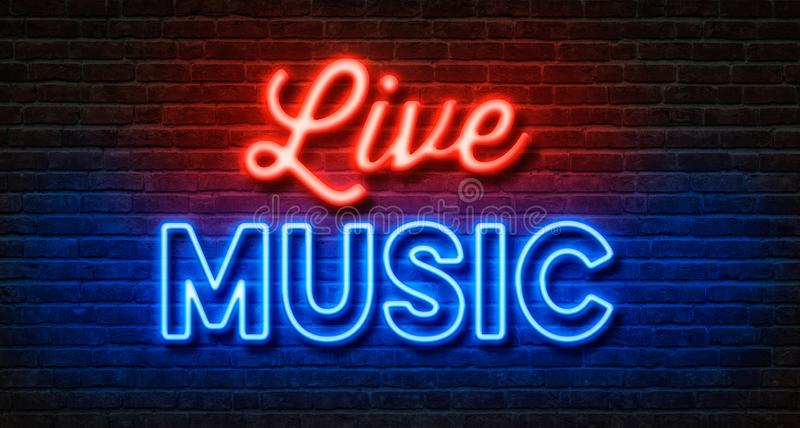 Enseigne au néon sur un mur de briques - Live Music illustration libre de droits