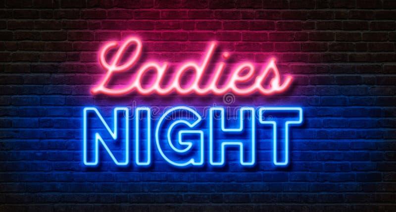 Enseigne au néon sur un mur de briques - nuit de dames illustration stock