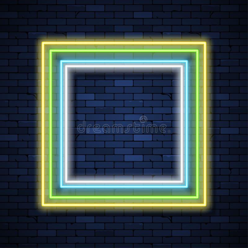 Enseigne au n?on sur le mur de briques illustration libre de droits