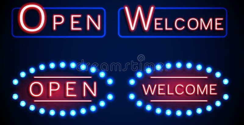 Enseigne brillante au néon avec le mot ouvert et bienvenu illustration stock