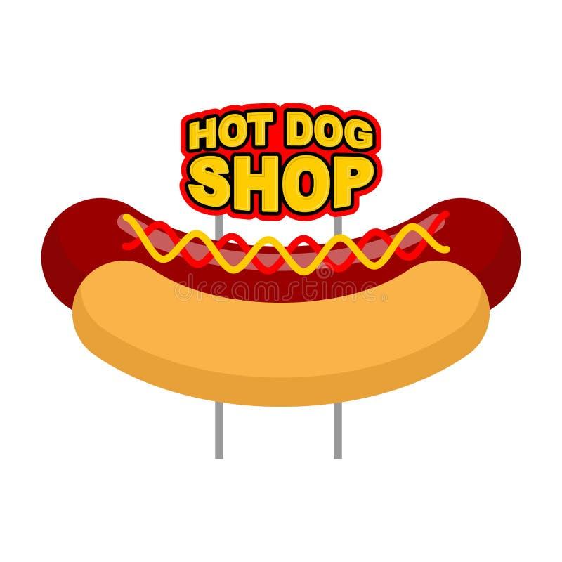 Enseigne de boutique de hot-dog Grand nom juteux de saucisse et de petit pain pour rapide illustration libre de droits