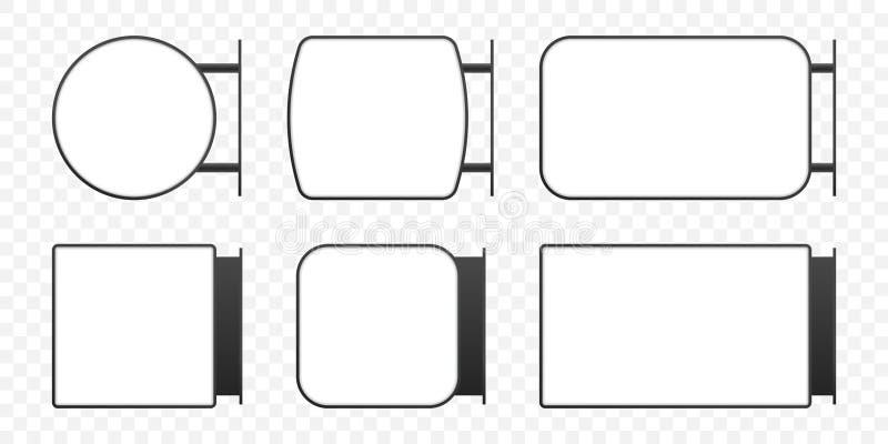 Enseigne de caisson lumineux de Signage Ensemble vertical de maquette de boîte de signe de lightbox de rectangle de vecteur illustration de vecteur