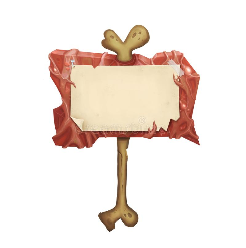 Enseigne de Halloween avec le papier brûlé de peau et de cru sur le vieil os illustration stock