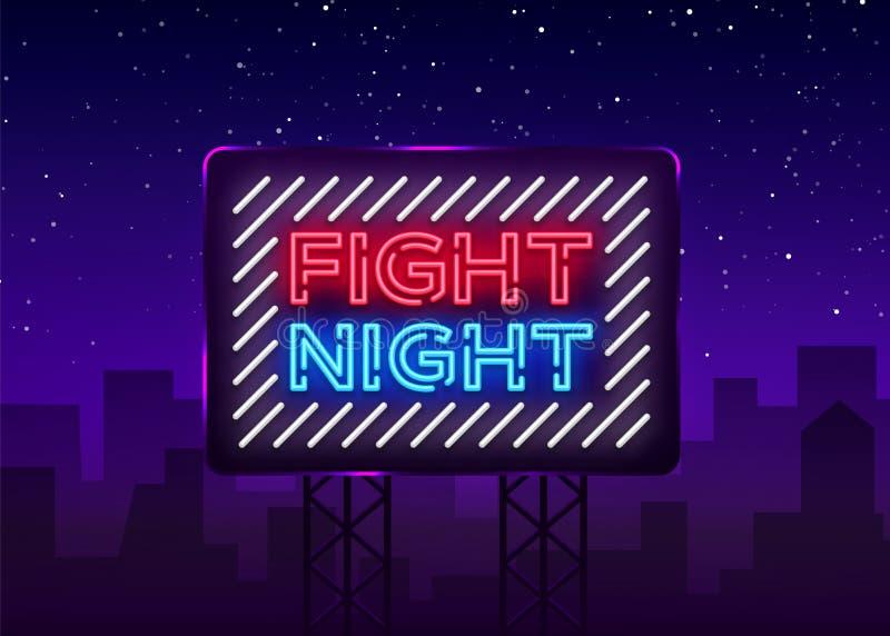 Enseigne de néon de nuit de combat La publicité lumineuse de nuit, bannière légère, calibre d'enseigne au néon de conception Illu illustration libre de droits