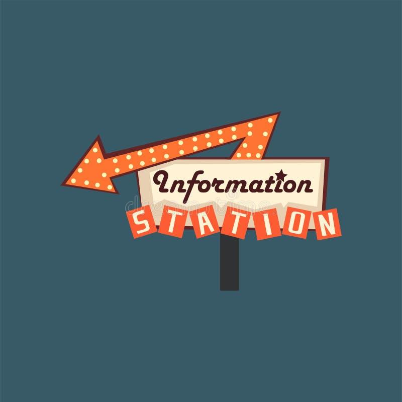 Enseigne de rue de station de l'information la rétro, bannière de vintage avec des lumières dirigent l'illustration illustration de vecteur