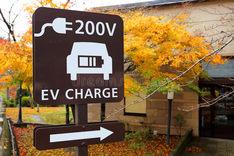 Enseigne de station de charge d'EV images stock
