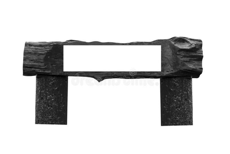 Enseigne en bois avec l'espace vide d'isolement sur le fond blanc photographie stock libre de droits