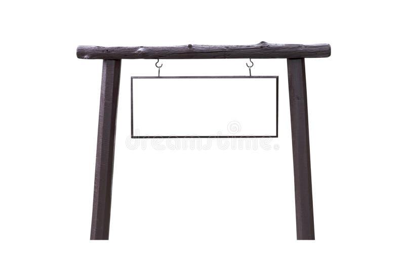 Enseigne en bois avec l'espace vide d'isolement sur le fond blanc photographie stock