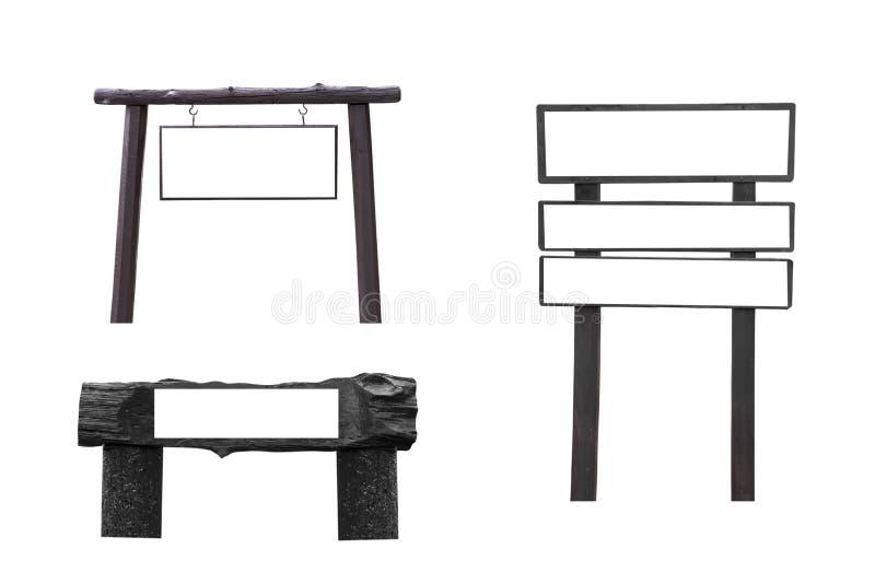 Enseigne en bois avec l'espace vide d'isolement sur le fond blanc photos stock