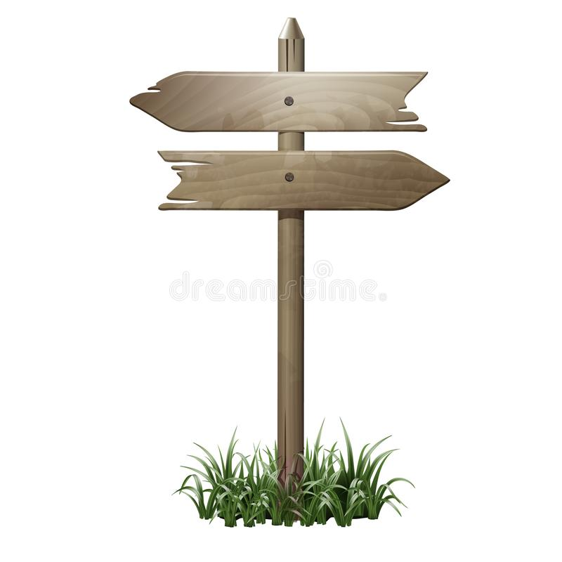 Enseigne en bois dans une herbe illustration libre de droits