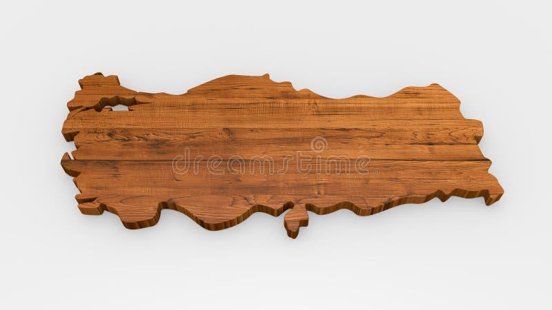 Enseigne en bois de carte de la Turquie illustration de vecteur