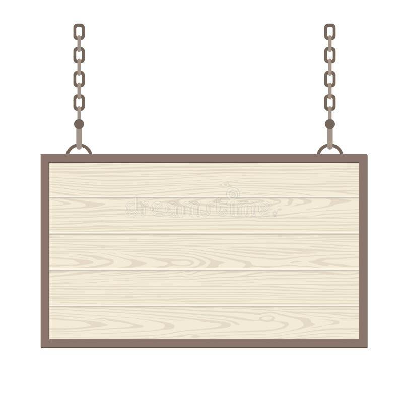 Enseigne en bois rectangulaire vide accrochant sur la chaîne métallique Vecteur à plat monochrome illustration libre de droits
