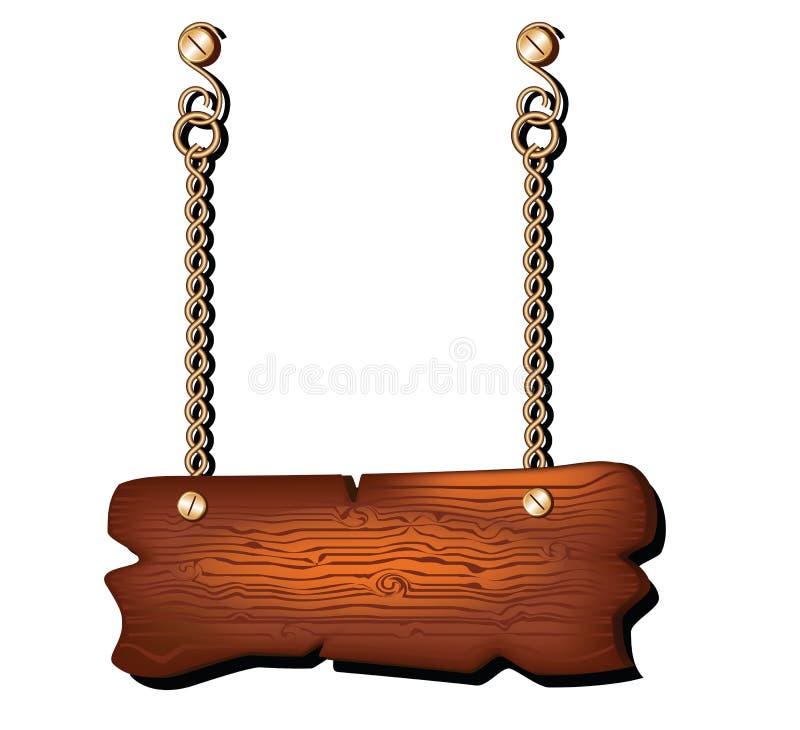Enseigne en bois vide accrochant sur la chaîne d'isolement illustration libre de droits