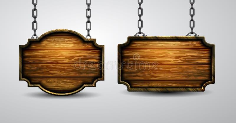 Enseigne en bois vide accrochant sur la chaîne d'isolement sur le fond blanc illustration de vecteur