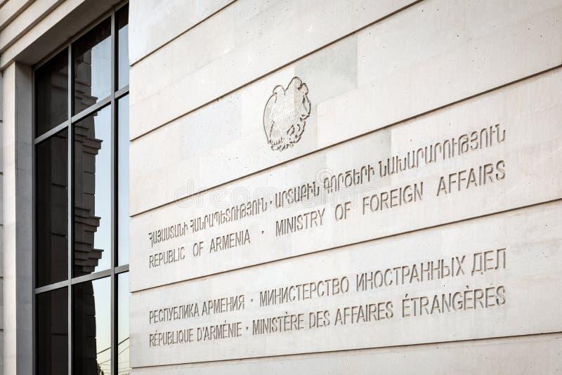 Enseigne par Ministère des Affaires Étrangères photographie stock libre de droits