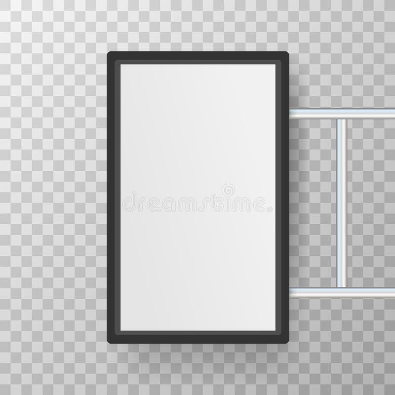 Enseigne rectangulaire de caisson lumineux de signage Caf? noir en m?tal, moquerie ext?rieure de restaurant  Illustration de vect illustration stock