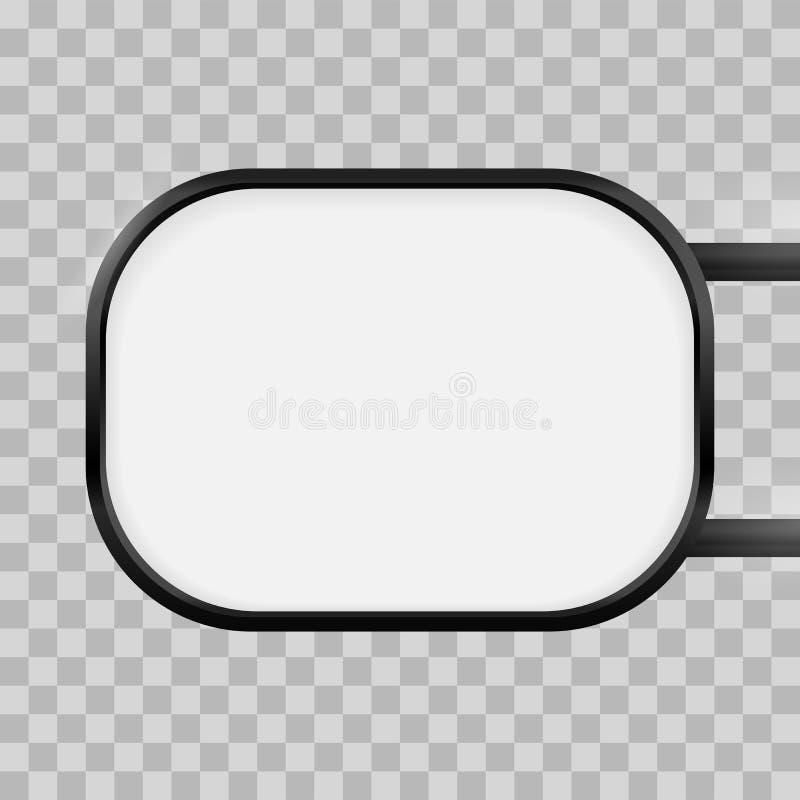 Enseigne rectangulaire ronde de caisson lumineux de signage Maquette de boîte de signe de lightbox de rectangle de vecteur illustration libre de droits