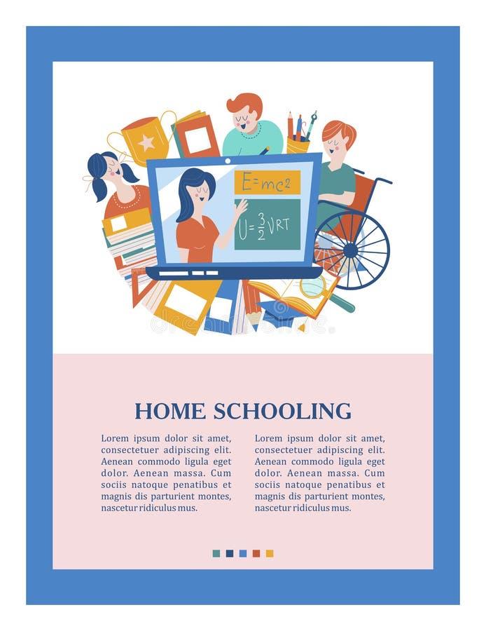 Enseignement à domicile Illustration de vecteur Un utilisateur de fauteuil roulant est instruit à la maison illustration de vecteur