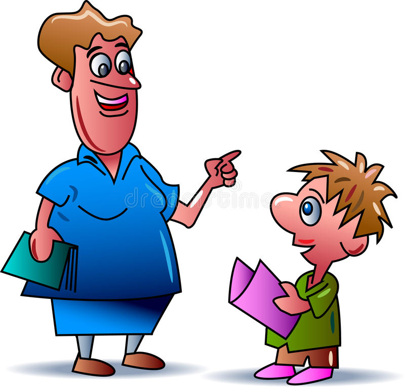 Enseignement avec l'enfant illustration stock