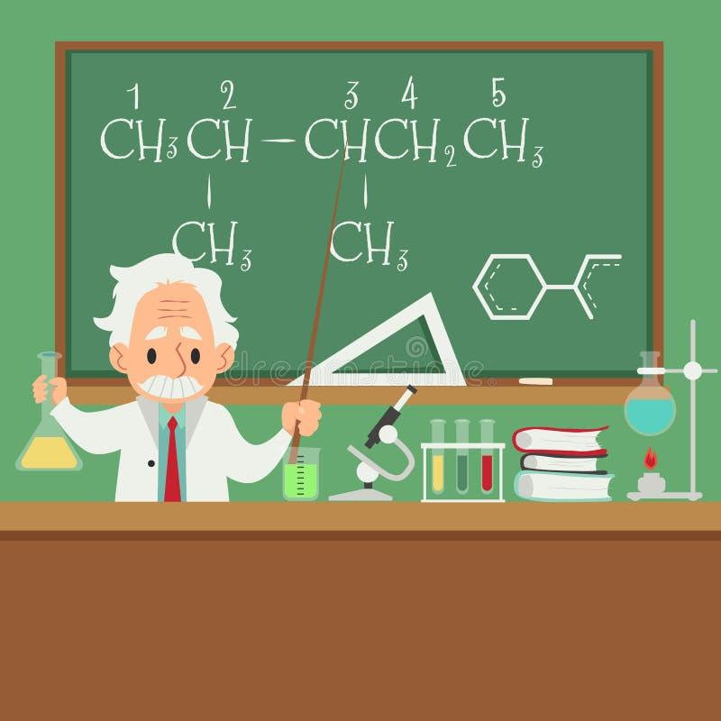 Enseignement de professeur ou de scientifique dans l'illustration plate de vecteur d'université ou d'université illustration de vecteur