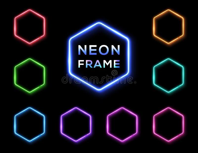 Enseignes au néon d'hexagone réglés sur le fond noir illustration libre de droits