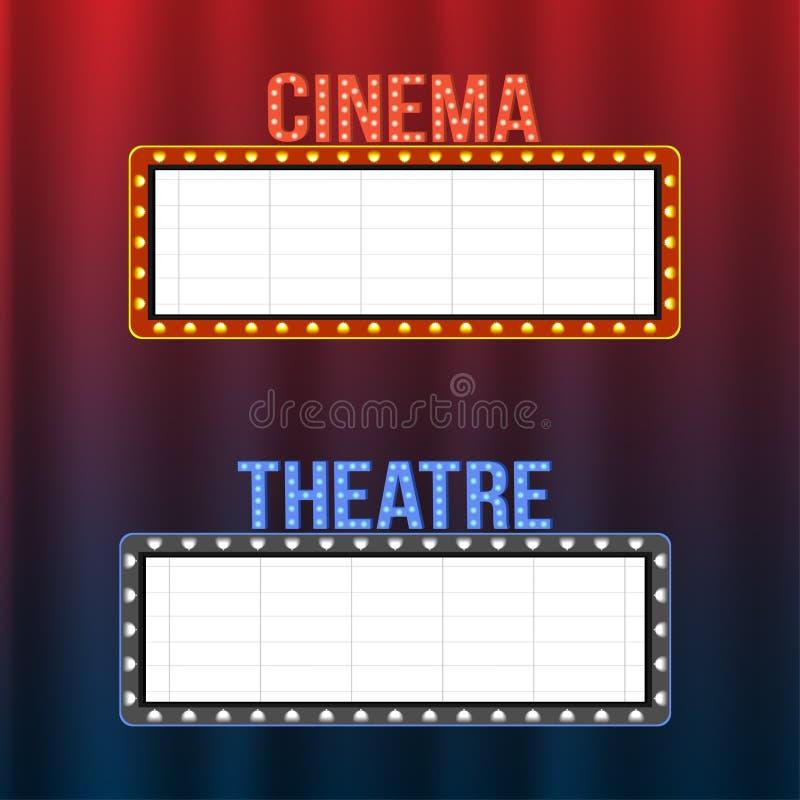 Enseignes de cinéma et de théâtre sur les rideaux bleus et rouges avec des projecteurs et des cadres de vintage illustration de vecteur