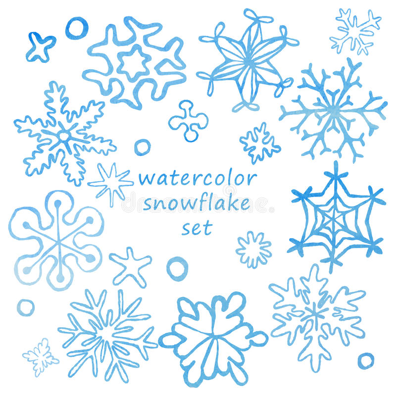 Ensemble à la main dessinés de flocons de neige mignons avec la texture d'aquarelle illustration libre de droits