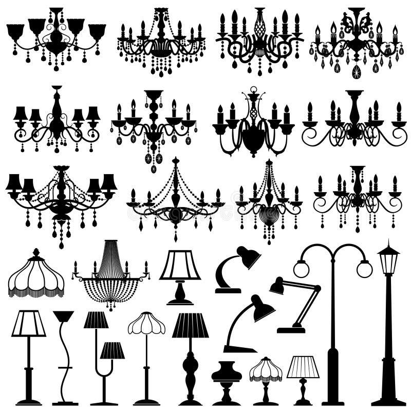 Ensemble à la maison et extérieur de vecteur de foudre, de lampes et de lustres illustration libre de droits