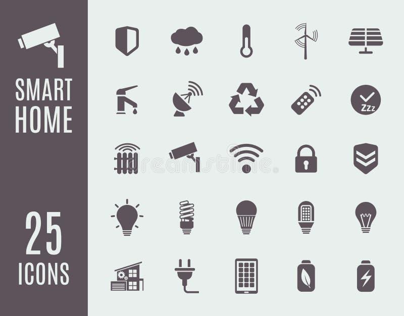 Ensemble à la maison futé d'icône Systèmes de contrôle d'automation Illustration de vecteur illustration libre de droits