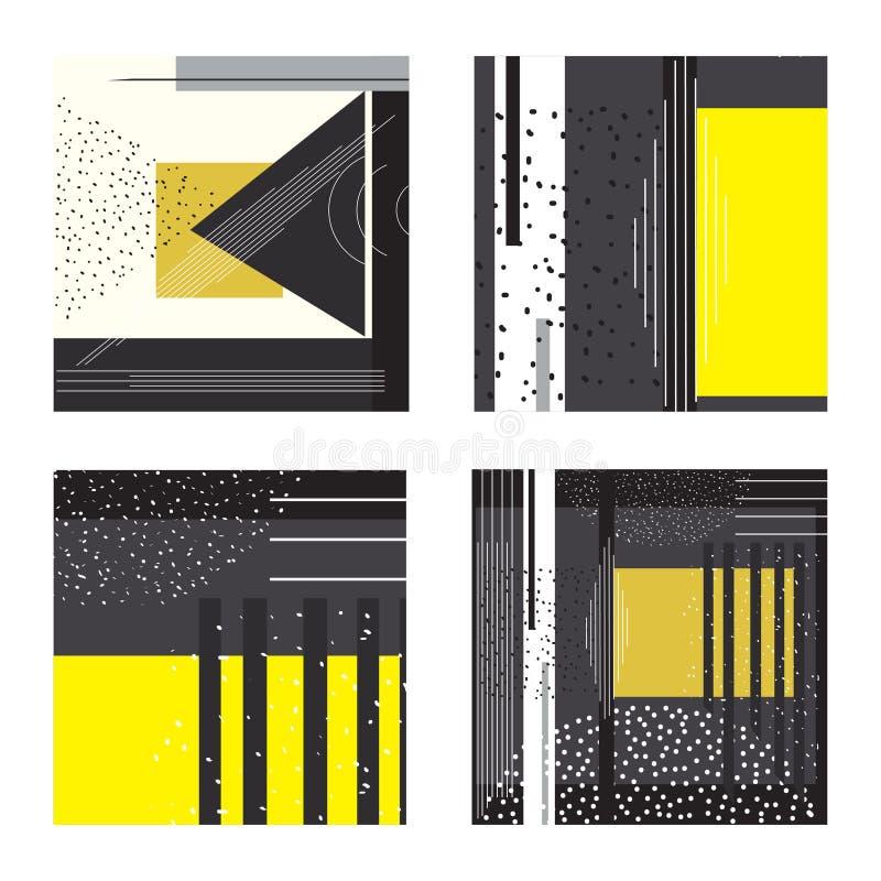 Ensemble à la mode de cartes géométriques de Memphis d'éléments Texture g?om?trique de style, mod?le et ?l?ments g?om?triques Abs illustration stock