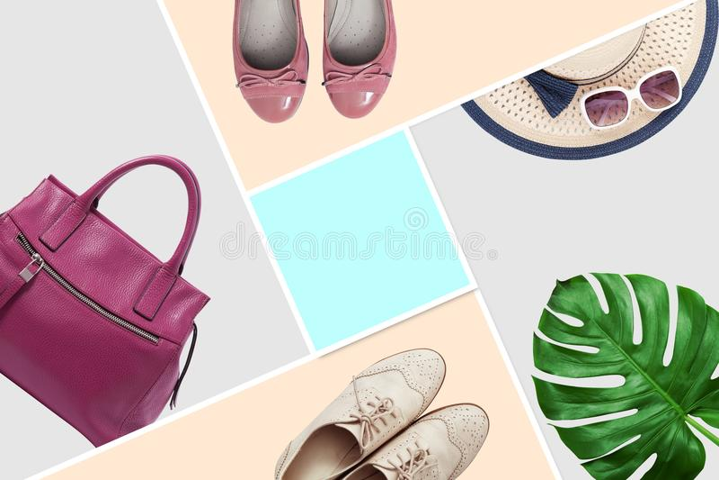 Ensemble à la mode de mode de vêtements d'accessoires Accessoires de femme, embrayage élégants de sac à main, denim, chaussures d photo libre de droits