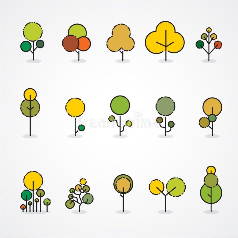 Ensemble à la mode et bel d'arbres plats et d'éléments de forêt illustration de vecteur
