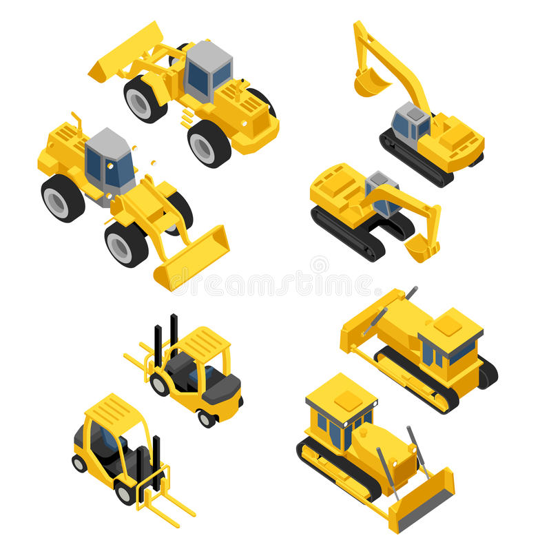 Ensemble à plat isométrique d'icône de transport de construction de ville illustration de vecteur