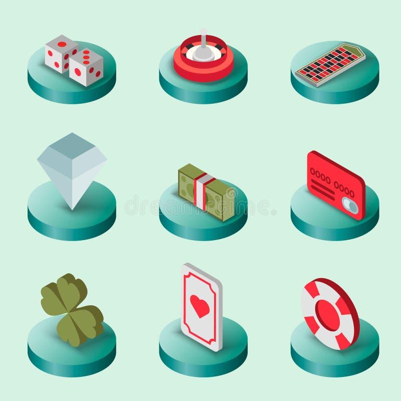 Ensemble à plat isométrique de casino illustration de vecteur