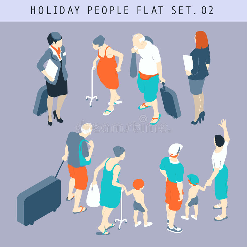 Ensemble à plat isométrique de touristes 02 des personnes 3D illustration de vecteur