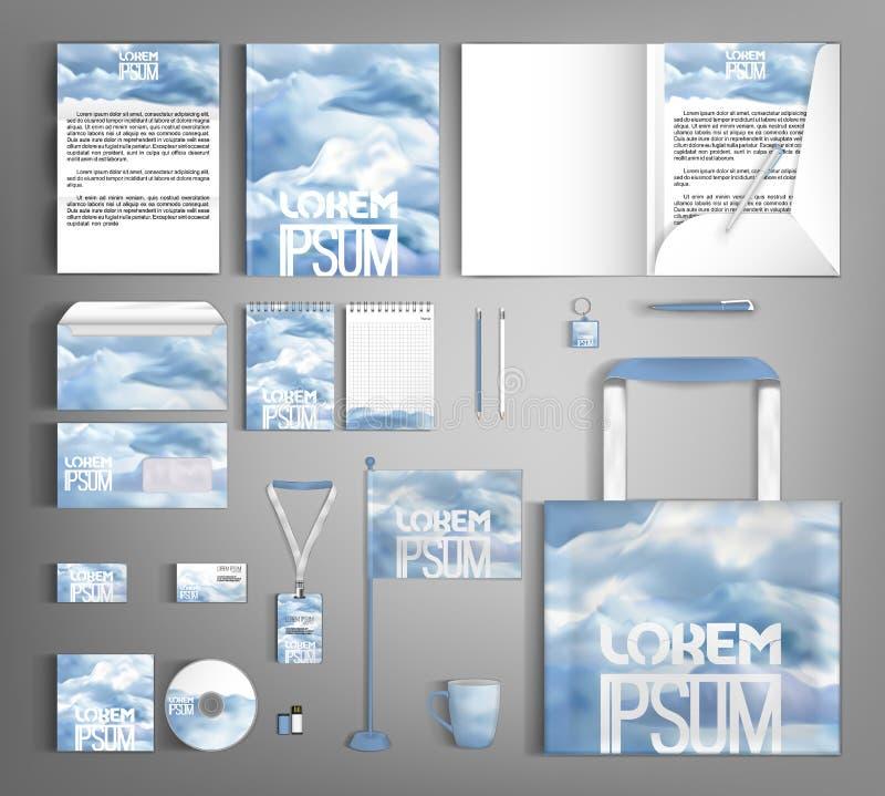 Ensemble élégant d'identité d'entreprise avec des nuages Descripteur Editable de conception illustration de vecteur