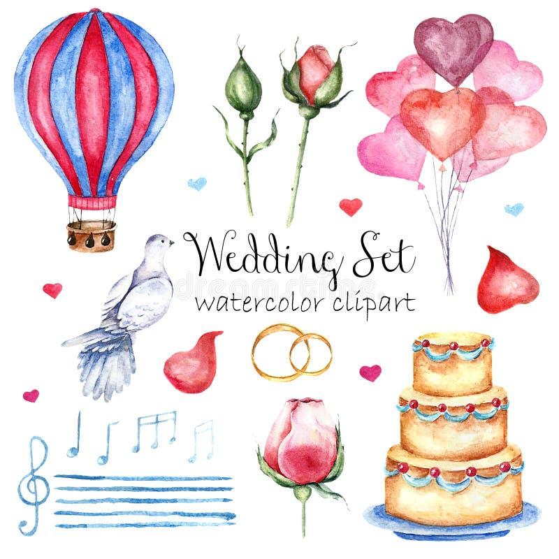 Ensemble élégant moderne de style de mariage d'aquarelle Divers objets : bouquet de jeune mariée avec des roses, pivoine, chaussu illustration de vecteur