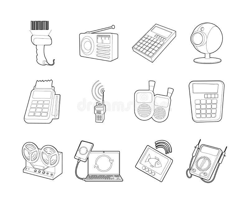Ensemble électrique d'icône de dispositif, style d'ensemble illustration de vecteur