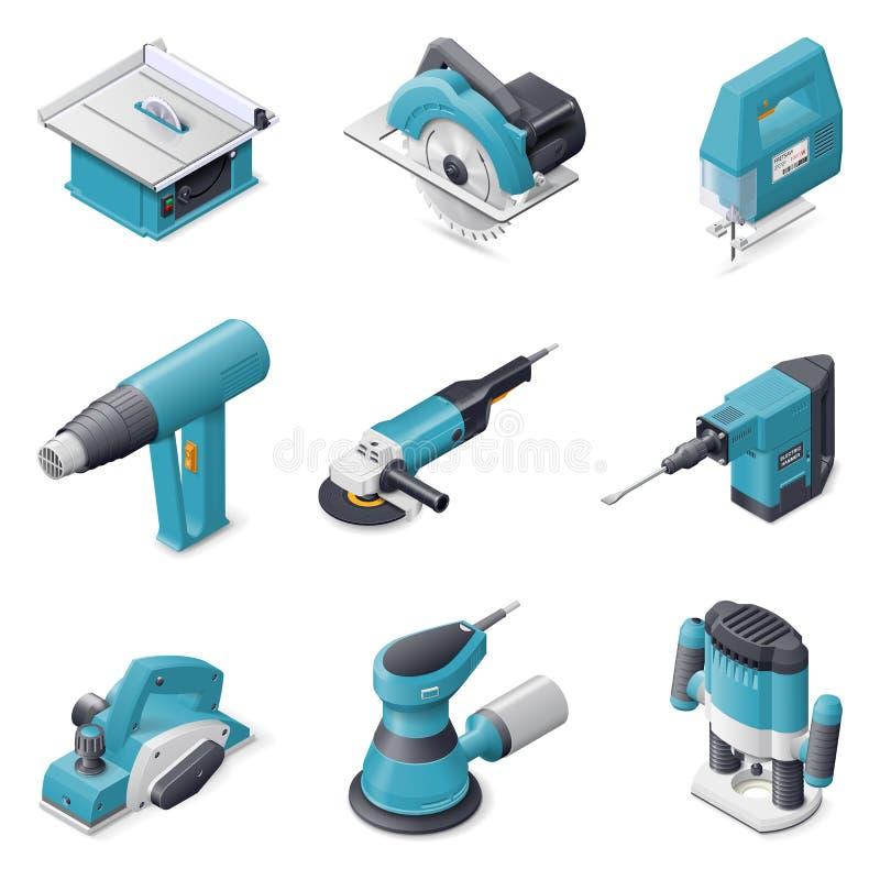 Ensemble électrique d'icône d'outils de construction illustration stock